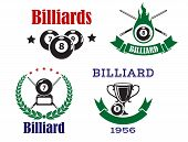 Retro emblems for billiards with cues and balls