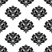 Seamless baroque style black flowers pattern