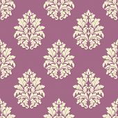 Seamless lush blooming damask flowers pattern