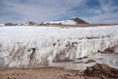 Standing ice in Atacama desert in Andes