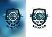 image of wind-rose  - Nautical Navigator label or emblem with wind rose - JPG