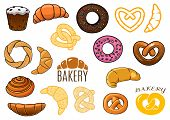 Outlined and cartooned buns, cake, croissants, donuts, pretzels