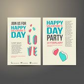Brochure Flyer Happy Valentine's Day design vector template.