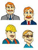 Cartoon male businessmen, builder, doctor characters