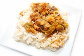 Beef And Pepper Stir Fry Over White Rice