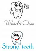 Happy smiling cartoon teeth for logo or emblem design
