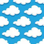 Seamless cartoon cloudscape pattern on cyan background