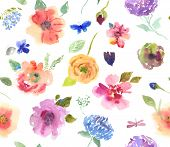 stock photo of pattern  - Greeting card with flowers watercolor background and pattern - JPG