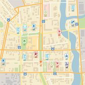 Vector City Map With Pin Location Pointers