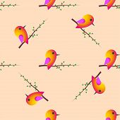 Bird Sparrow. St. Valentine's Day. Seamless Pattern. Vector
