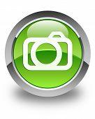 Camera Icon Glossy Green Round Button