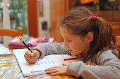 Little Girl Writes The Homework On Notebook