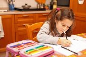 Young Girl Writes With Pencil On The School Book In The Kitchen