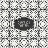 Vector seamless retro vintage hipster line pattern with flowers. For wallpaper, pattern fills, web p