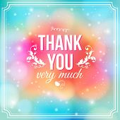 Thank you card on soft colorful background.