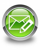 Edit Email Icon Glossy Green Round Button