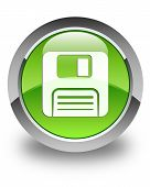 Floppy Disk Icon Glossy Green Round Button