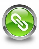Link Icon Glossy Green Round Button