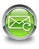 Refresh Email Icon Glossy Green Round Button