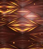 Abstract hexagon pattern. Brown and golden shiny background.