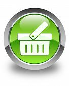 Shopping Cart Icon Glossy Green Round Button