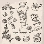 Vector set 2 of hand drawn vintage valentine's day collection