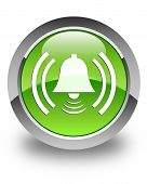 Alarm Bell Icon Glossy Green Round Button