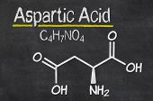 Blackboard with the chemical formula of Aspartic acid