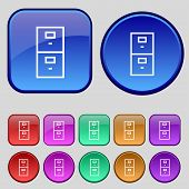 Safe Sign Icon. Deposit Lock Symbol. Set Of Colour Buttons. Vector