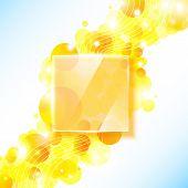 Shiny yellow geometric background with glass panel.