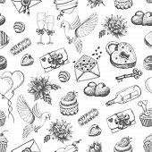 Vector seamless pattern with hand drawn valentine's day elements on a white background
