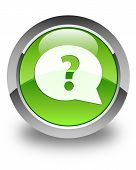 Question Mark Bubble Icon Glossy Green Round Button