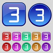 Third Place Award Sign. Winner Symbol. Step Three. Set Of Coloured Buttons. Vector