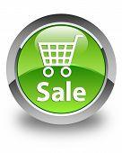 Sale Glossy Green Round Button