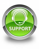 Support (customer Care Icon) Glossy Green Round Button