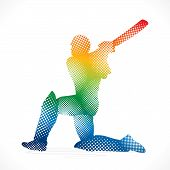 colorful cricket player design