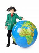 Little Boy In Historical Dress Standing With Big Inflatable Globe Isolated