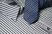 Blue Tie On Men Shirt