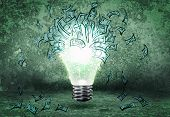 Background image with light bulb and money banknotes