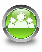 Customer Care Team Icon Glossy Green Round Button