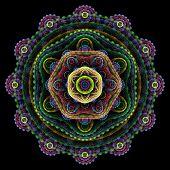 Round 3D Mandala On Black Background