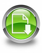 Download Document Icon Glossy Green Round Button