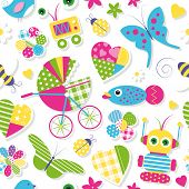 stock photo of ladybug  - illustration of colorful baby stroller hearts flowers birds butterflies bees ladybugs fish and toys collection pattern on white background - JPG