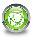 Global Network Icon Glossy Green Round Button