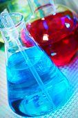 Medical research. Scientific laboratory tube with liquid