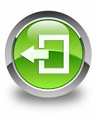 Logout Icon Glossy Green Round Button