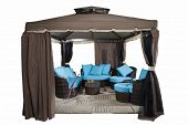 Luxury Garden Tent With Complete Set Of Rattan Furniture Inside, Isolated On White