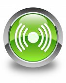 Network Signal Icon Glossy Green Round Button