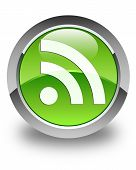 Rss Icon Glossy Green Round Button