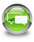 Testimonials Icon Glossy Green Round Button
